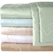 American Heritage 300tc Set of 2 Egyptian Cotton Sateen Embroidered Pillowcases