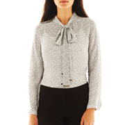 Worthington® Long-Sleeve Bow Blouse with Cami - Petite