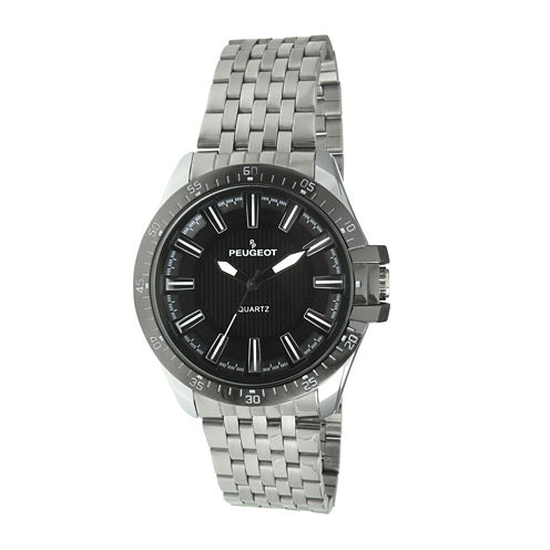 Peugeot® Mens Black Carbon Fiber Dial Silver-Tone Watch