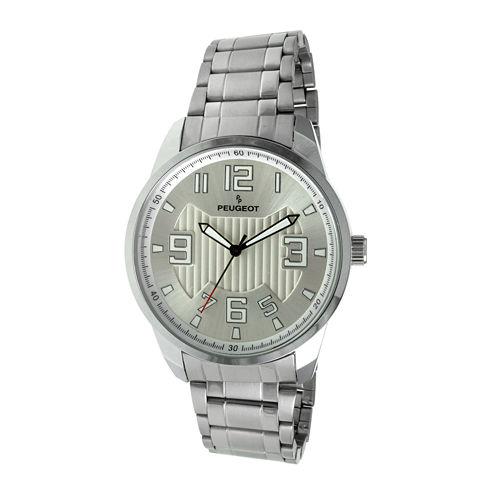 Peugeot® Mens Carbon Fiber Cutout Dial Silver-Tone Watch