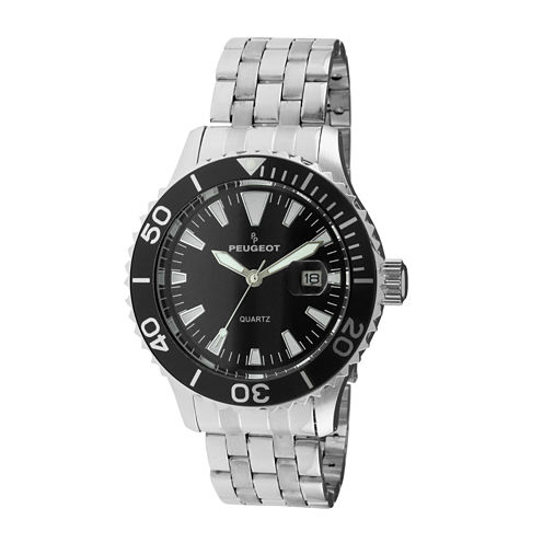 Peugeot® Mens Black Dial Silver-Tone Sport Watch