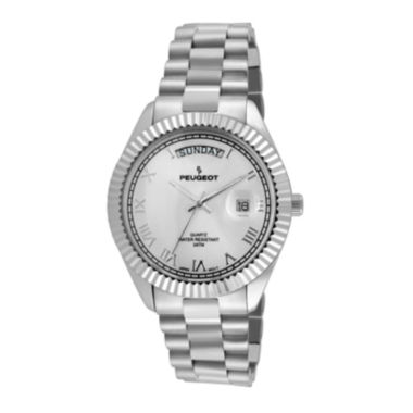 jcpenney.com | Peugeot® Mens Coin-Edge Bezel Stainless Steel Watch