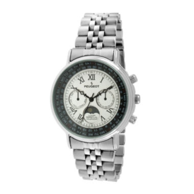 jcpenney.com | Peugeot® Mens Stainless Steel Moon Phase Perpetual Calendar Watch