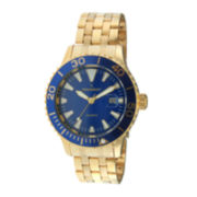 Peugeot® Mens Blue Dial Gold-Tone Sport Watch