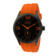 Peugeot® Mens Orange Silicone Strap Sport Watch