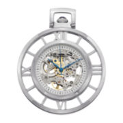 Stührling® Original Mens Stainless Steel Skeleton Automatic Pocket Watch & Chain