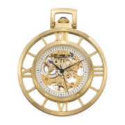Stührling® Mens Gold-Tone Stainless Steel Automatic Pocket Watch & Chain