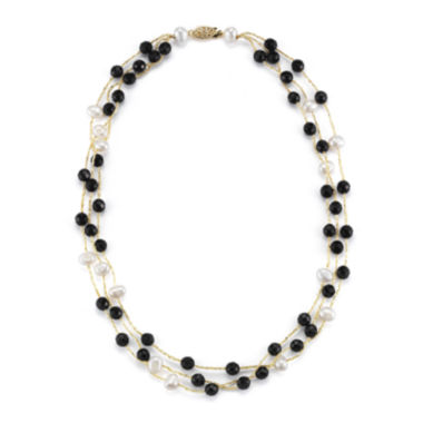 jcpenney.com | Cultured Freshwater Pearl and Dyed Black Onyx 3-Strand Necklace