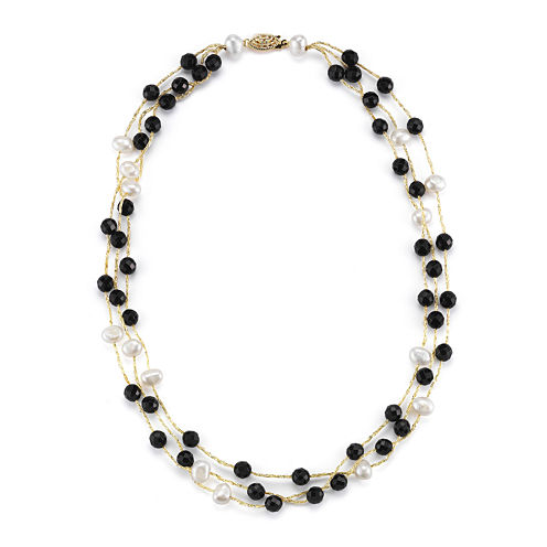 Cultured Freshwater Pearl and Dyed Black Onyx 3-Strand Necklace