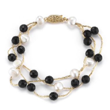 jcpenney.com | Cultured Freshwater Pearl and Dyed Onyx 3-Strand Bracelet
