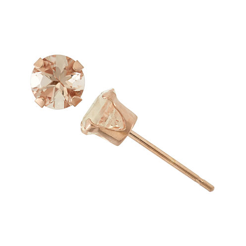 Color-Enhanced Pink Morganite 10K Rose Gold Stud Earrings