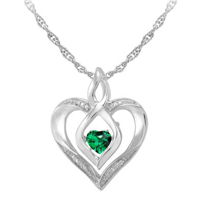 Love in motion dancing emerald diamond accent heart pendant love in motion simulated emerald and diamond accent heart pendant necklace aloadofball Gallery