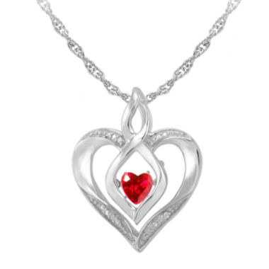 jcpenney.com | Love in Motion™ Lab-Created Ruby & Diamond-Accent Sterling Silver Heart Pendant Necklace