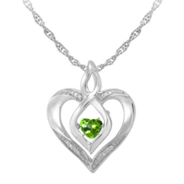 jcpenney.com | Love in Motion™ Genuine Peridot and Diamond-Accent Heart Pendant Necklace