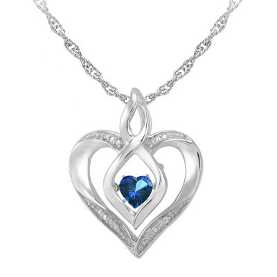 Love in motion dancing blue sapphire diamond accent heart pendant love in motion lab created sapphire and diamond accent heart pendant necklace aloadofball Gallery