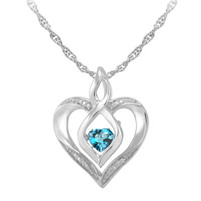 Love in motion dancing blue topaz diamond accent heart pendant love in motion genuine topaz and diamond accent heart pendant necklace aloadofball Image collections