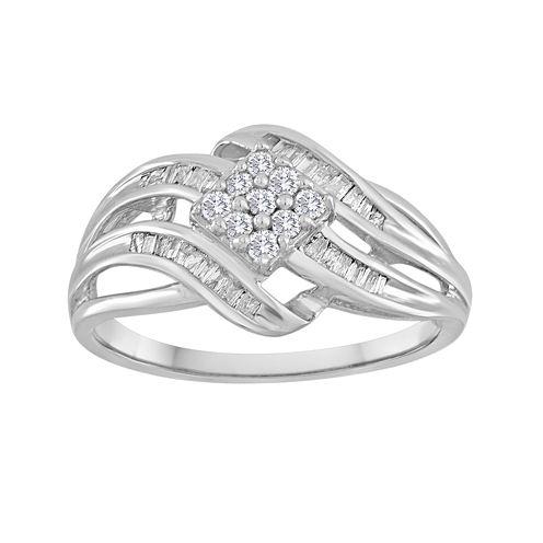 1/3 CT. T.W. Diamond 10K White Gold Multi-Top Swirl Ring