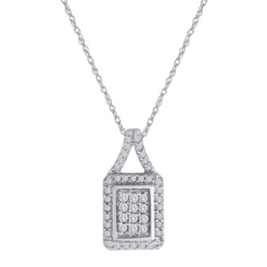 jcpenney.com | 1/3 CT. T.W. Diamond 10K White Gold Square Pendant Necklace
