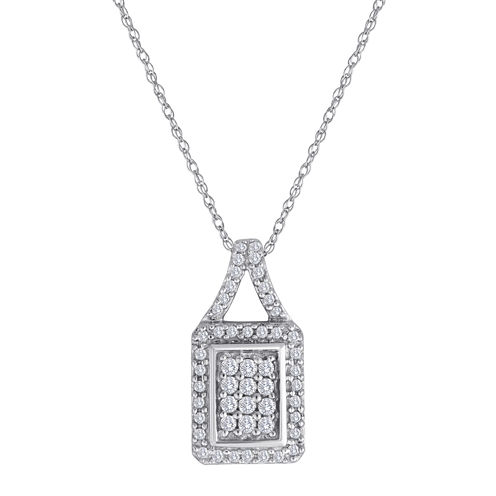 1/3 CT. T.W. Diamond 10K White Gold Square Pendant Necklace