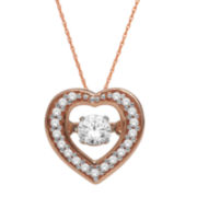 Love in Motion™ 1/4 CT. T.W. Diamond 10K Rose Gold Heart Pendant Necklace