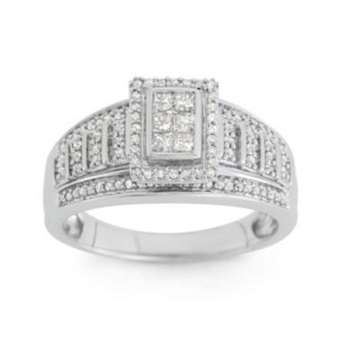 jcpenney.com | 1/2 CT. T.W. Diamond 10K White Gold Multi-Top Bridal Ring