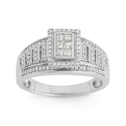 1/2 CT. T.W. Diamond 10K White Gold Multi-Top Bridal Ring