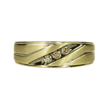 jcpenney.com | Mens 1/5 CT. T.W. Champagne Diamond 10K Yellow Gold 3-Stone Slant Wedding Band