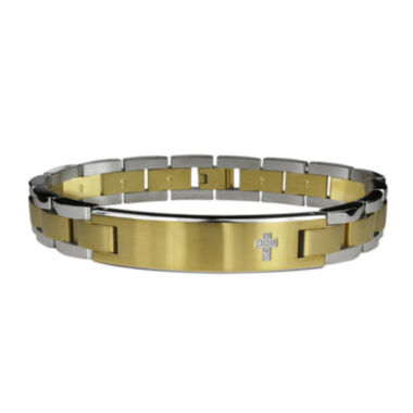 jcpenney.com | Mens Diamond-Accent Cross Stainless Steel & Gold-Tone IP Bracelet