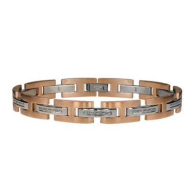jcpenney.com | Mens 1/10 CT. T.W. Diamond Stainless Steel & Rose-Tone IP Link Bracelet