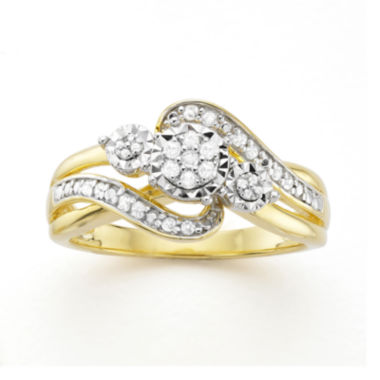 jcpenney.com | 1/7 CT. T.W. Diamond Cluster 14K Yellow Gold Over Sterling Silver Ring