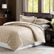 Double Diamond Faux-Mink Comforter Reverses to Sherpa Set