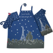 Rue Montmarte Paris la Nuit Ciel Etoile Kitchen Linen Accessory Set