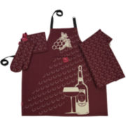 Rue Montmarte Raisins Rouges Vin Kitchen Linen Accessories Set