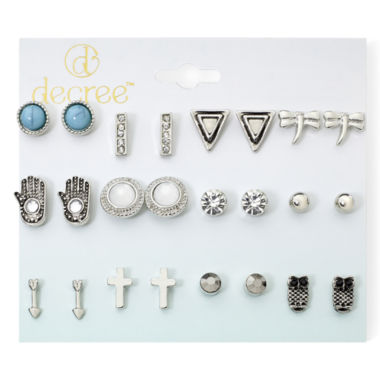 jcpenney.com | Decree® 12-pc. Silver-Tone Fashion Stud Earring Set