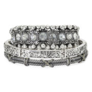 Decree® Textured Metals 3-pc. Stretch Bracelet Set