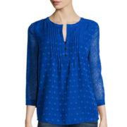 St. John's Bay® 3/4-Sleeve Pintuck Peasant Shirt
