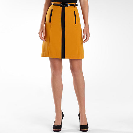 Worthington Belted Contrast Skirt - Plus
