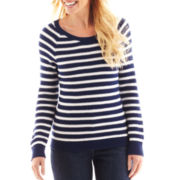 Liz Claiborne Long-Sleeve Striped Sweater - Talls