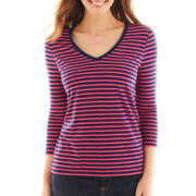 Liz Claiborne 3/4-Sleeve Striped V-Neck Tee