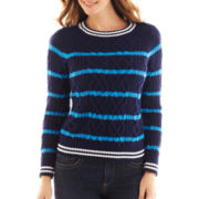 Liz Claiborne Long-Sleeve Cable Striped Sweater