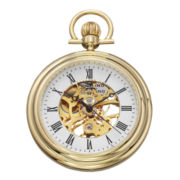 Stührling® Mens Gold-Tone Stainless Steel Skeleton Automatic Pocket Watch