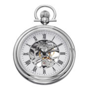 Stührling® Mens Stainless Steel Skeleton Automatic Pocket Watch