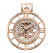 Stührling® Original Mens Rose-Tone Stainless Steel Automatic Pocket Watch & Chain