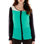 Worthington® Long-Sleeve Button-Front Colorblock Blouse - Tall