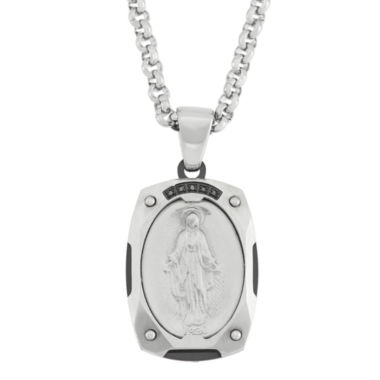 jcpenney.com | Color-Enhanced Black Diamond-Accent Stainless Miraculous Mary Medal Pendant