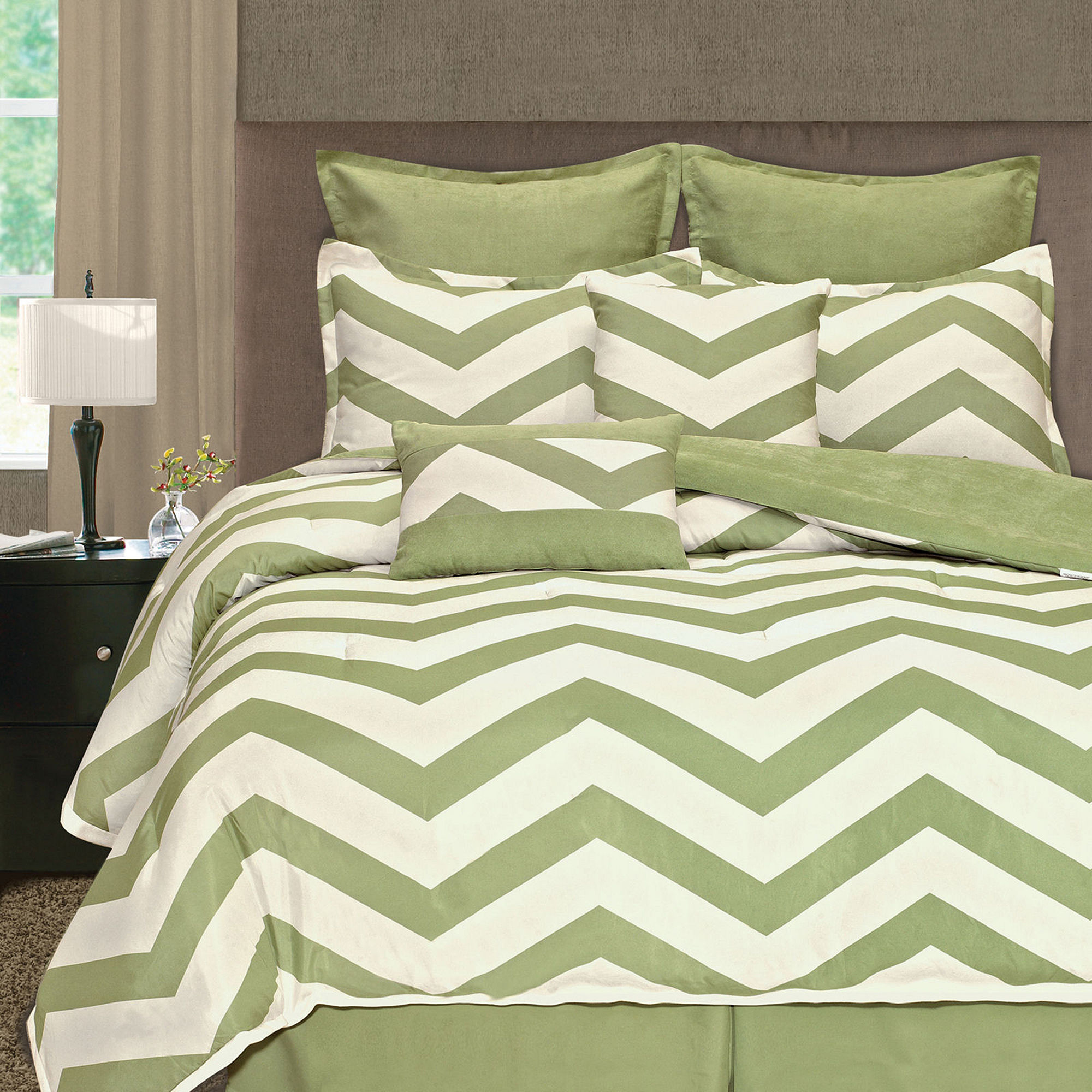 Zig Zag Chevron 8-pc. Microsuede Comforter Set