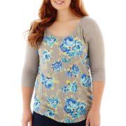 Arizona Raglan-Sleeve Floral Print Tee - Plus