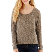 Sugar High Long-Sleeve Pom-Pom-Trim Striped Top