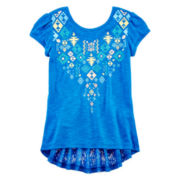 Arizona Short-Sleeve Crochet-Back Fashion Tee - Girls 7-16