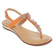 GC Waterlillies T-Strap Jeweled Flat Sandals